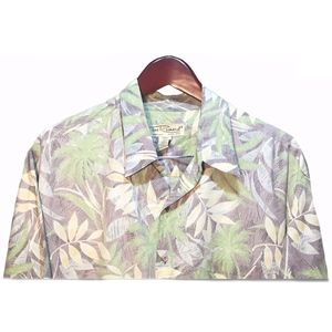 Tori Richard Green Beige Hawaiian Shirt Size XL